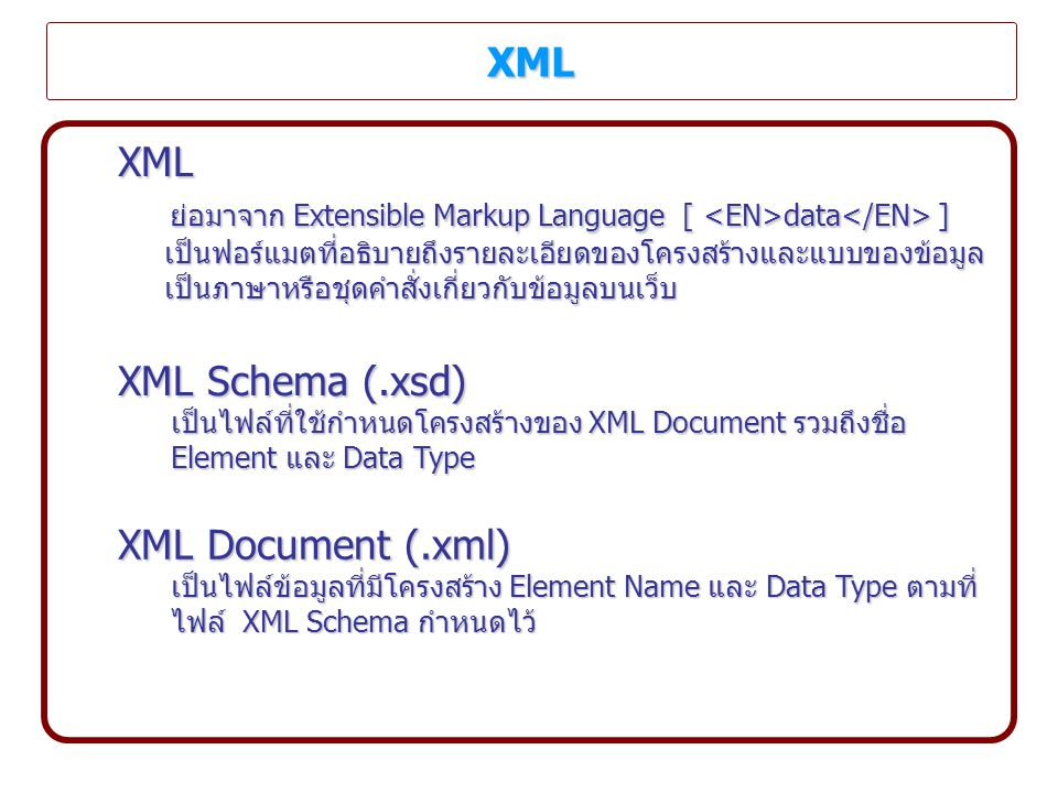 ย่อมาจาก Extensible Markup Language [ <EN>data</EN> ]